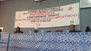 """Panelists at the """"Conference Debate"""" on fistula prevention, held on May 27 in Niamey, Niger."""