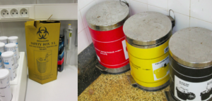 "Medical waste has to be separated at point of use into different color coded containers and then is usually either buried or burned. Sharps are separated into their own puncture proof safety container to prevent accidental ""jabbing""."