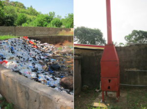 From A to B: Medical waste management is a dirty business if not conducted properly! But with routine monitoring and supervision, hospitals can maintain infection prevention and waste management best practices. The small incinerator on the right is used to burn trash and medical waste. It is well maintained and separated from the community by a high wall to prevent curious children from wandering around the site.